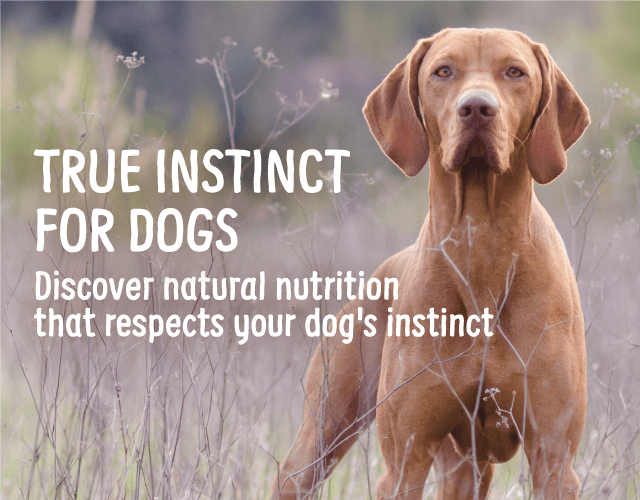 TRUE INSTINCT FOR DOGS Discover natural nutrition that respects your dog's instinct